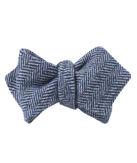 Irish Herringbone Blue Wool Diamond Self Bow Tie