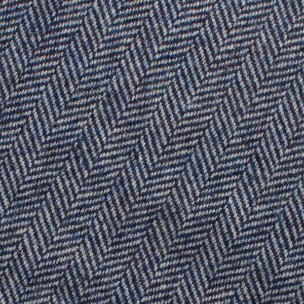 Irish Herringbone Blue Wool Tie | Mens Ties Neckties | OTAA