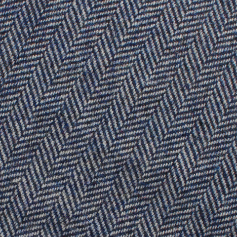 Irish Herringbone Blue Wool Pocket Square