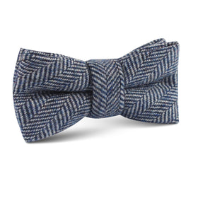 Irish Herringbone Blue Wool Kids Bow Tie