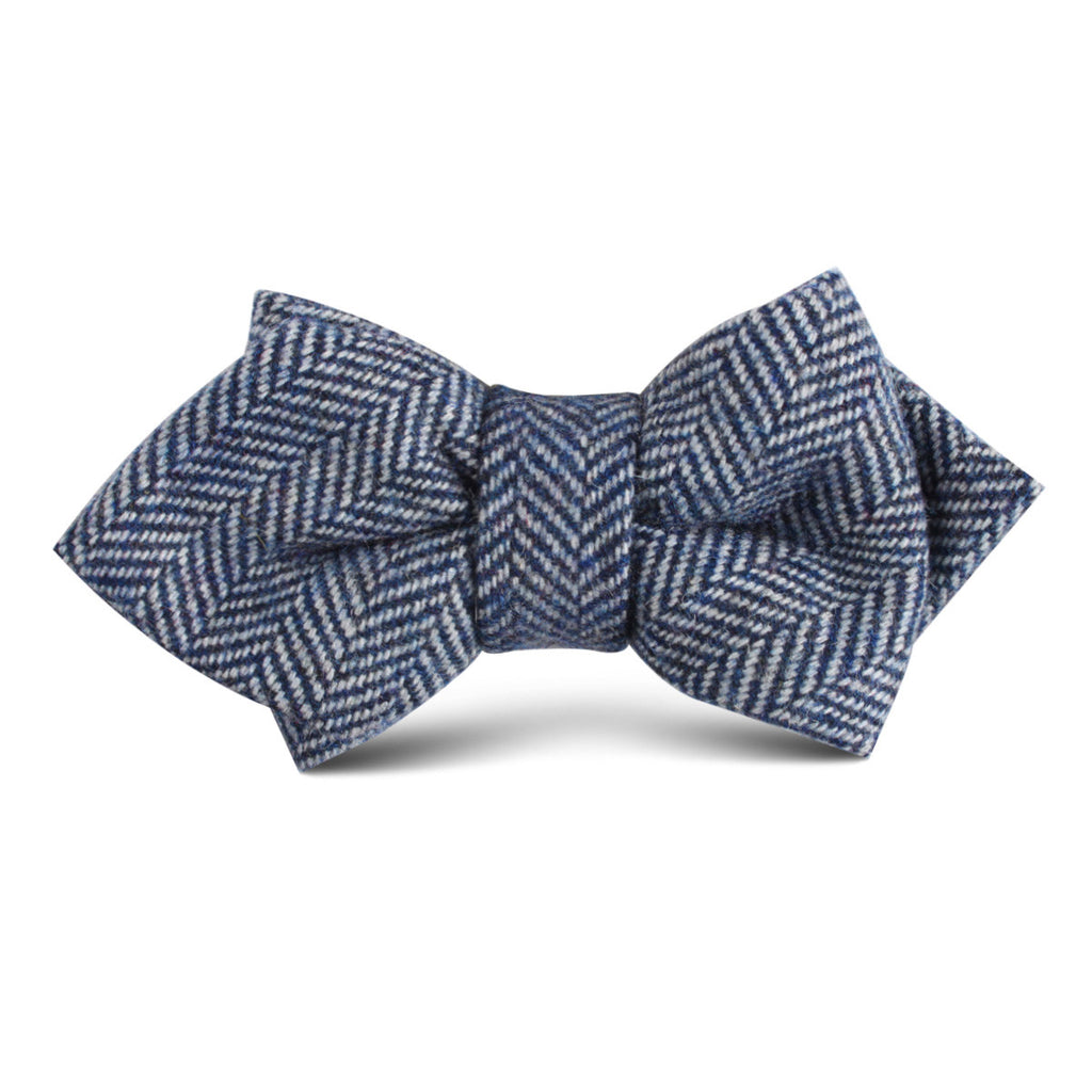 Irish Herringbone Blue Wool Kids Diamond Bow Tie