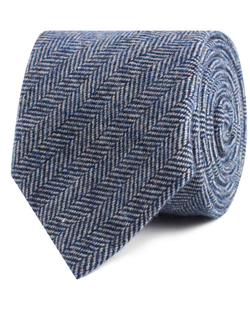 Irish Herringbone Blue Wool Tie