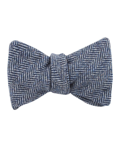 Irish Herringbone Blue Wool Self Bow Tie