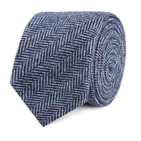 Irish Herringbone Blue Wool Skinny Tie