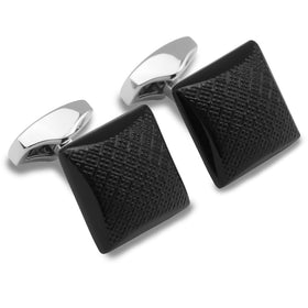 Isle of Man Black Square Cufflinks