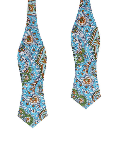 Isola Comacina Blue Paisley Diamond Self Bow Tie