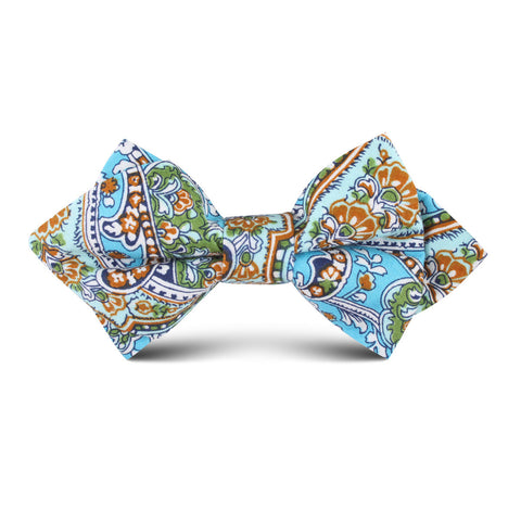 Isola Comacina Blue Paisley Kids Diamond Bow Tie