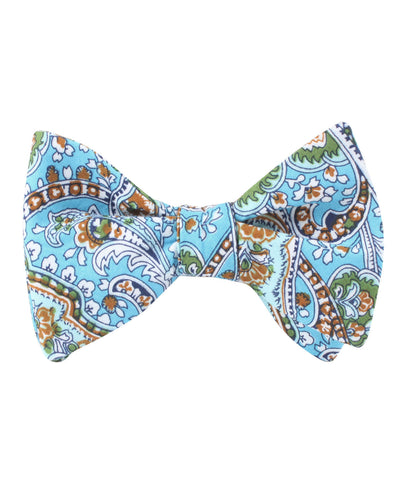 Isola Comacina Blue Paisley Self Bow Tie
