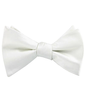 Ivory Crisp Satin Self Bow Tie