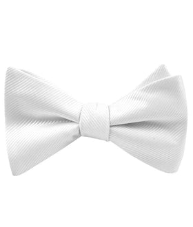 Ivory Crisp Twill Self Bow Tie