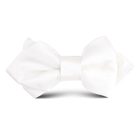 Ivory Satin Kids Diamond Bow Tie