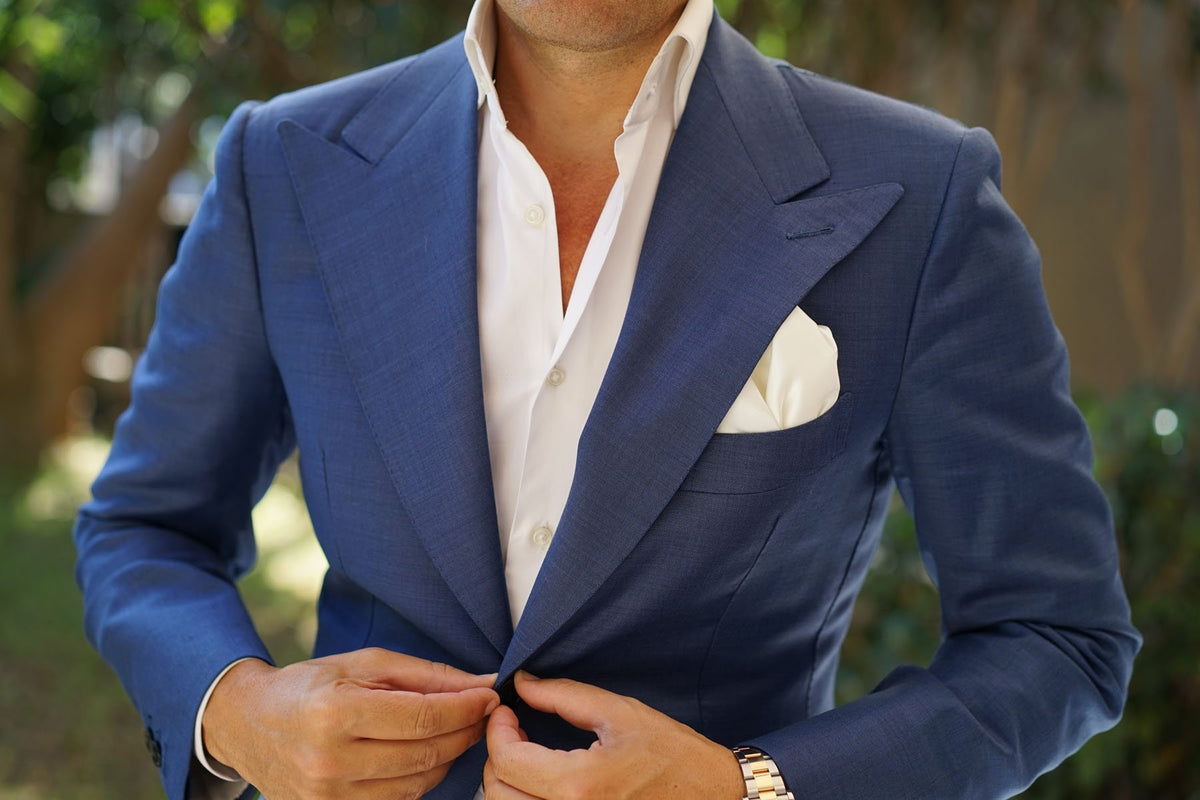 Ivory Satin Pocket Square
