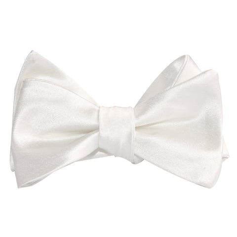 Ivory Satin Self Tie Bow Tie