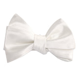 Ivory Satin Self Tie Bow Tie 2