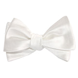 Ivory Satin Self Tie Bow Tie 3