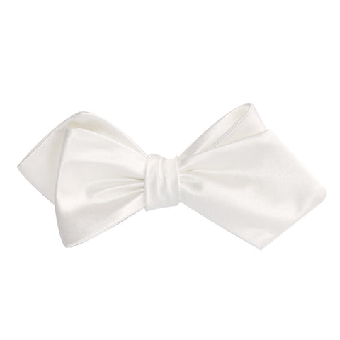 Ivory Satin Self Tie Diamond Tip Bow Tie