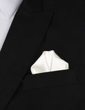 Ivory Satin Winged Puff Pocket Square Fold