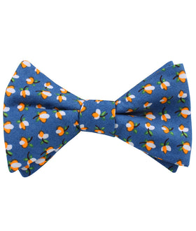 Iwaki Blue Petunia Floral Self Bow Tie