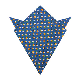 Iwaki Blue Petunia Floral Pocket Square