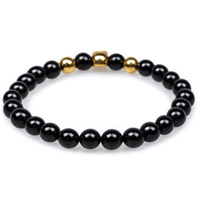 Jacob's Ladder Black Onyx Gold Skull Bracelet