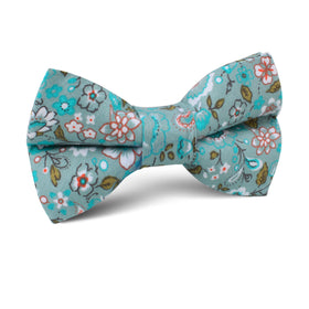 Japanese Sage Green Floral Kids Bow Tie