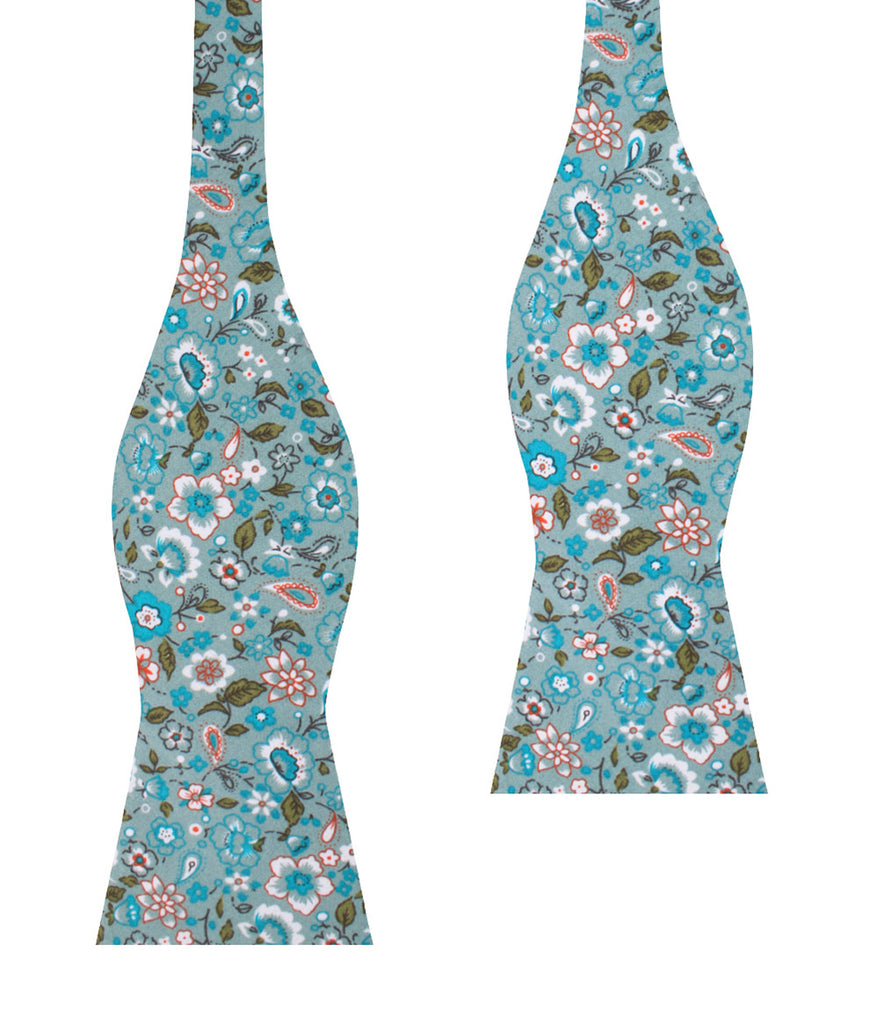 Japanese Sage Green Floral Self Bow Tie