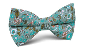Japanese Sage Green Floral Bow Tie