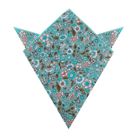 Japanese Sage Green Floral Pocket Square