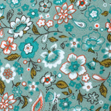 Japanese Sage Green Floral Pocket Square Fabric