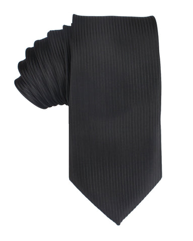 Jet Black Stripes Necktie