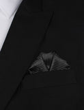 Jet Black Stripes Winged Puff Pocket Square Fold