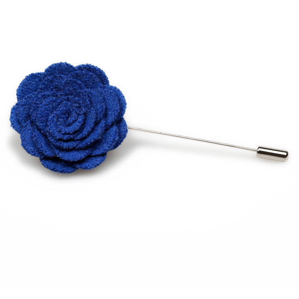 Jeune Blue Wool Flower Lapel Pin