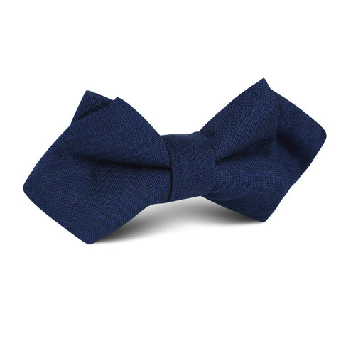 Jeune Fille Endormie Navy Linen Diamond Bow Tie