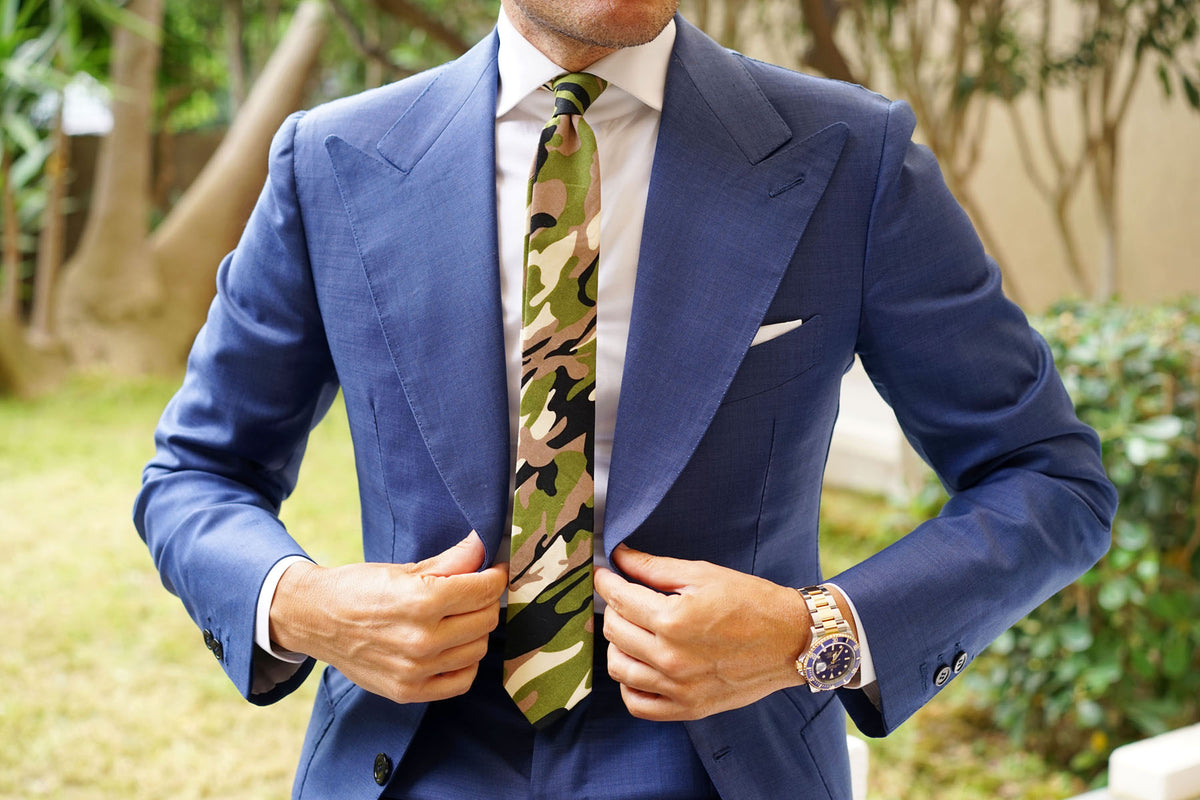 Jungle Green Camo Skinny Tie