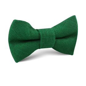 Juniper Dark Green Grain Linen Kids Bow Tie