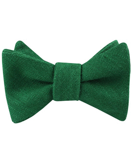 Juniper Dark Green Grain Linen Self Bow Tie
