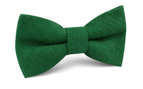 Juniper Dark Green Grain Linen Bow Tie