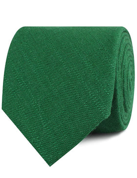Juniper Dark Green Grain Linen Necktie