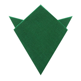 Juniper Dark Green Grain Linen Pocket Square
