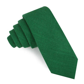 Juniper Dark Green Grain Linen Skinny Tie