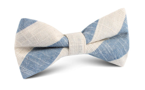 Kara Ada Light Blue Striped Linen Bow Tie