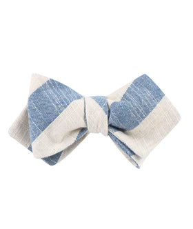 Kara Ada Light Blue Striped Linen Diamond Self Bow Tie