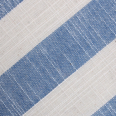 Kara Ada Light Blue Striped Linen Pocket Square