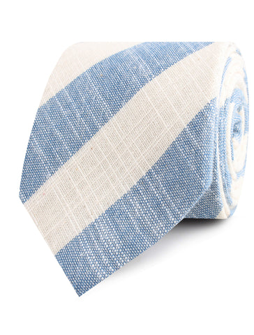 Kara Ada Light Blue Striped Linen Tie