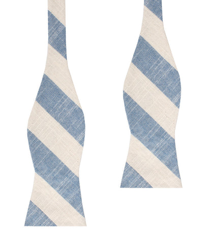 Kara Ada Light Blue Striped Linen Self Bow Tie