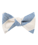 Kara Ada Light Blue Striped Linen Self Tied Bowtie