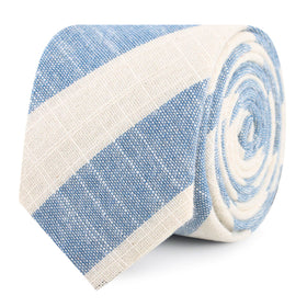Kara Ada Light Blue Striped Linen Skinny Tie