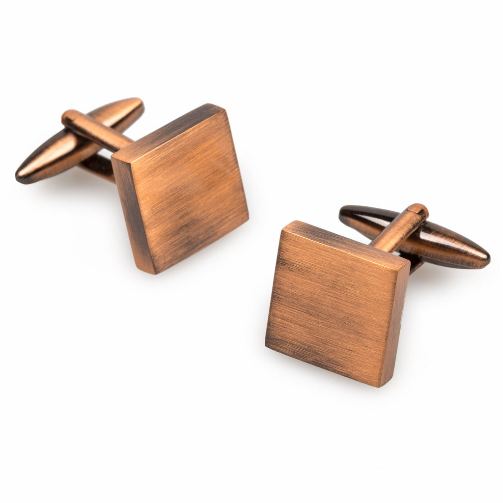 Karnak Brushed Copper Square Cufflinks