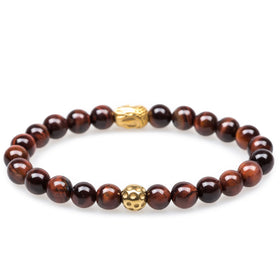 Kathmandu Red Tiger's Eye Gold Buddha Bracelet