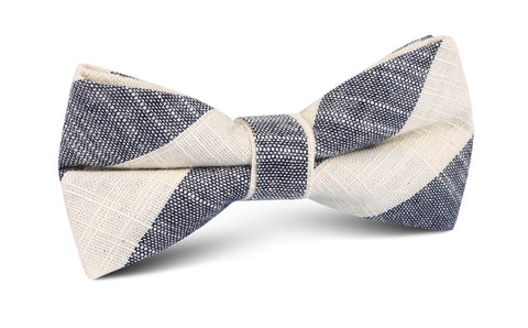 Kekova Blue Striped Linen Bow Tie